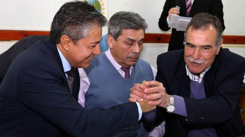 Figueroa y Bertoldi mostraron ayer su buena relación. Son de distintos partidos.