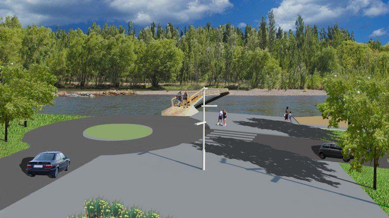 El paseo incluirá puentes peatonales que cruzarán el río Limay en el Sandra Canale.