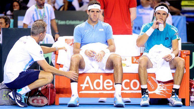 Orsanic sorprendió y ayer metió a Delpo para jugar el dobles. La idea era cerrar la semifinal con un 3-0