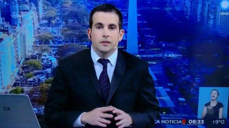 El conductor en la TV Pública.