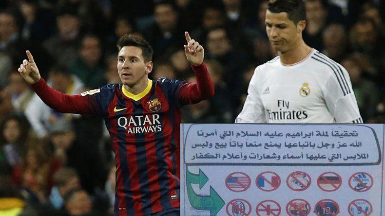 80 latigazos por usar la camiseta de Messi o Ronaldo