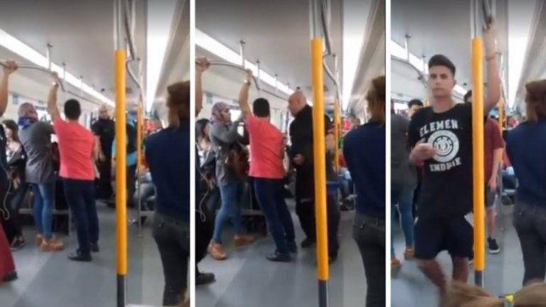 Al guarda del tren lo filmaron y el video se viralizó en las redes.