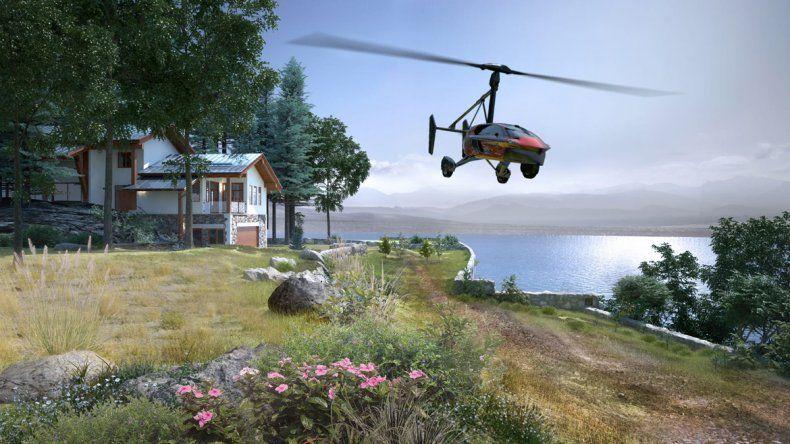 El auto volador puede aterrizar como un helicóptero pero necesita casi 200 metros sin obstáculos para poder despegar. Para funcionar por tierra sólo hay que pasarlo a modo auto.