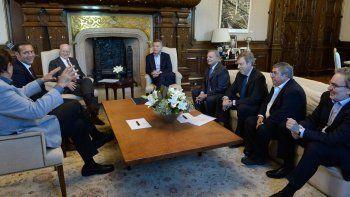 Macri encabezó la reunión con Paolo Rocca en la que participaron Gutiérrez y los sindicalistas Pereyra y Arévalo.