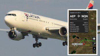 Un avión evadió la tormenta sobrevolando el Alto Valle