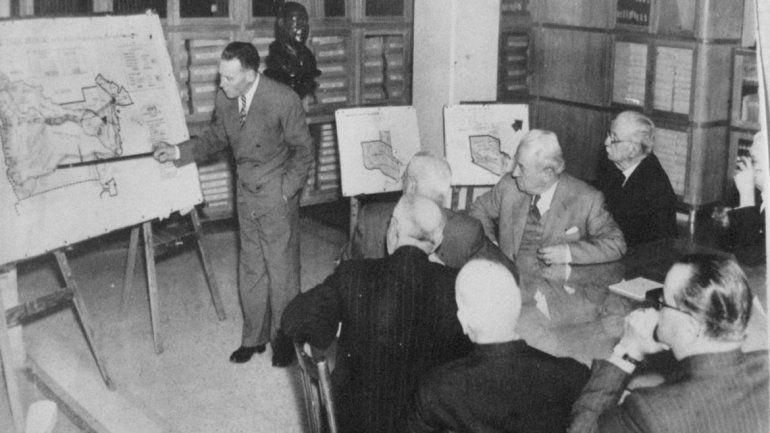 Domingo Pronsato explicando su proyecto de una gran provincia. (Archivo familia Pronsato)