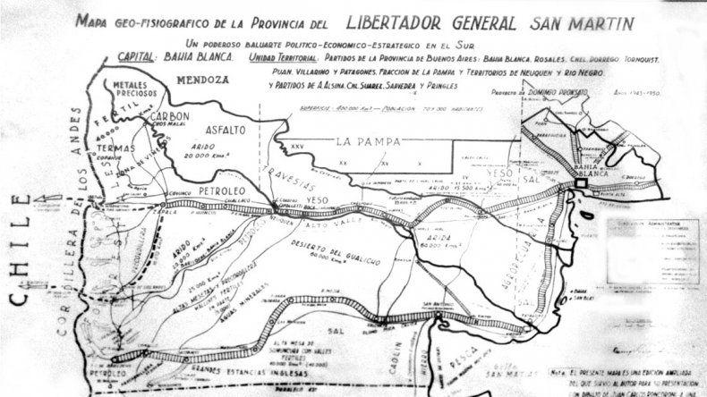 El mapa que dibujó Pronsato incluyendo a La Pampa y parte de Buenos Aires.