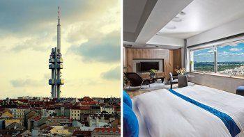 la vieja torre de television de praga es ahora un hotel