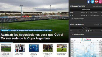 El portal de la Copa Argentina ayer reafirmó lo que difundió LMN.