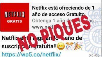 Advierten por falsa promo vía WhatsApp: un año de Netflix gratis