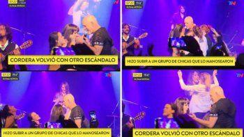 Polémico: Gustavo Cordera volvió a cantar y subió mujeres al escenario para que lo tocaran