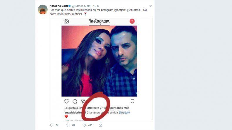 Con nuevas fotos, Natacha Jaitt volvió a escrachar a Diego Latorre