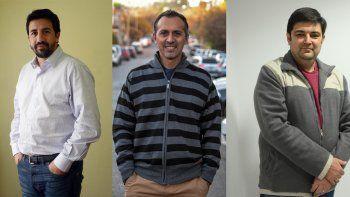 Gastón Ungar (Unidos Ciudad se Hace), Marcelo Zúñiga (Neuquén Somos Todxs) y Daniel Martín (Reencuentro Peronista), los candidatos de la interna.