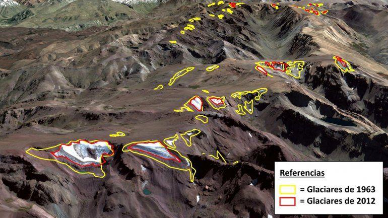 Imagen satelital de algunos glaciares existentes para el período 1963-2012 en la Cordillera del Viento (fotos aportadas por los científicos de la Universidad Nacional del Comahue).
