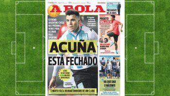 En Portugal dan por hecho el pase de Acuña al Sporting