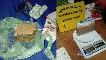 cuatro detenidos con cocaina, marihuana, un arma y dinero