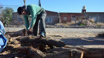 Los vecinos de Valentina Norte entran en calor hachando la leña que luego usan para protegerse del crudo invierno neuquino.