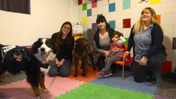 Jugar y hacer terapia. Los perros están adiestrados desde que nacen. Los chicos interactúan con los animales para tratar distintos tipos de dificultades.