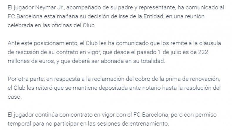 El Barcelona anunció que Neymar se va del club