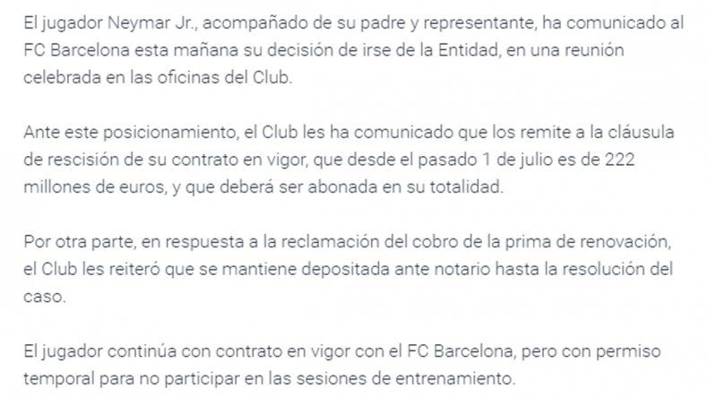 Messi despidió a Neymar