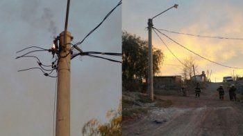 Causaron un incendio en un poste y dejaron a sus vecinos sin luz