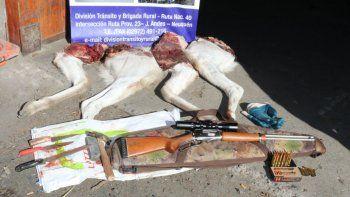 detuvieron a tres hombres que cazaban un guanaco
