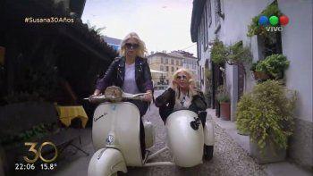 Wanda y Susana recorrieron Milán en moto y se divirtieron de lo lindo.