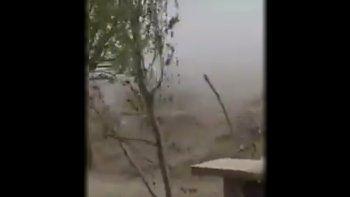 En Buta Ranquil era difícil estar en pie con la velocidad del viento