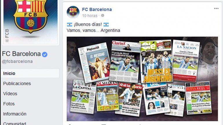 La tapa de LM Neuquén, en el Twitter oficial del Barça