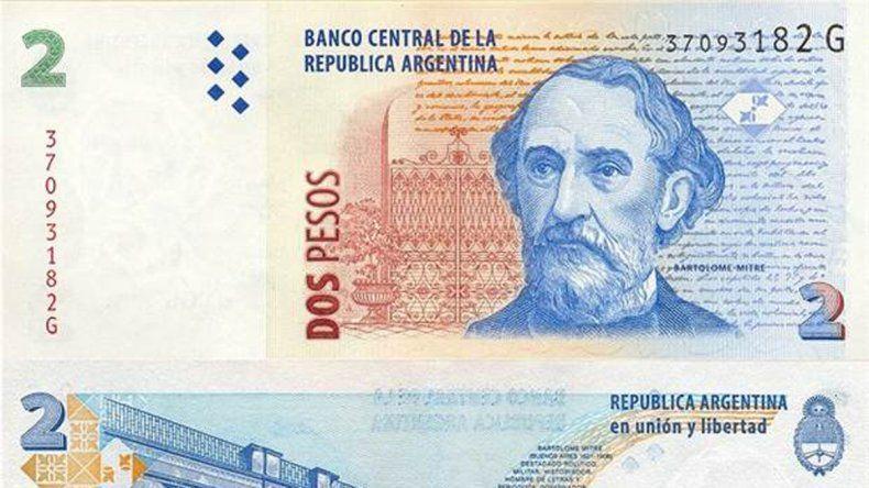 Los comercios deberán recibir los billetes de dos pesos hasta fin de mes