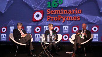 El panel. Gutiérrez, Peña y Rocca, el jueves en la charla del congreso Propymes de Techint.