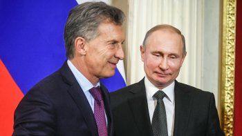 Presidentes. Mauricio Macri y Vladimir Putin se vieron en Moscú.
