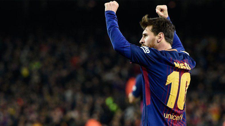 Messi metió el gol que le dio el pase a la semifinal al Barcelona.