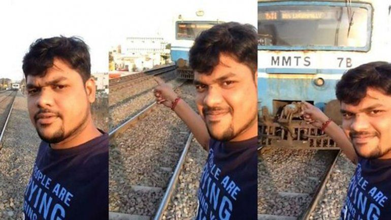 India: casi muere por sacarse una selfie con el tren