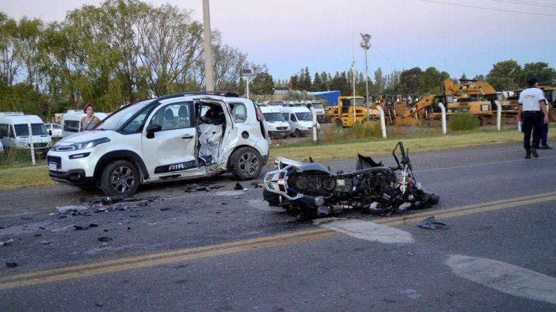 Un motociclista herido tras violento choque sobre la Ruta 22