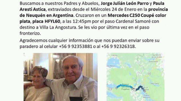 Pareja de ancianos lleva 5 días extraviados tras viaje a Argentina