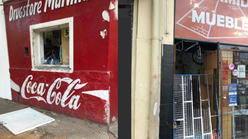 Roturas de vidrios e intento de robo en dos locales del centro neuquino