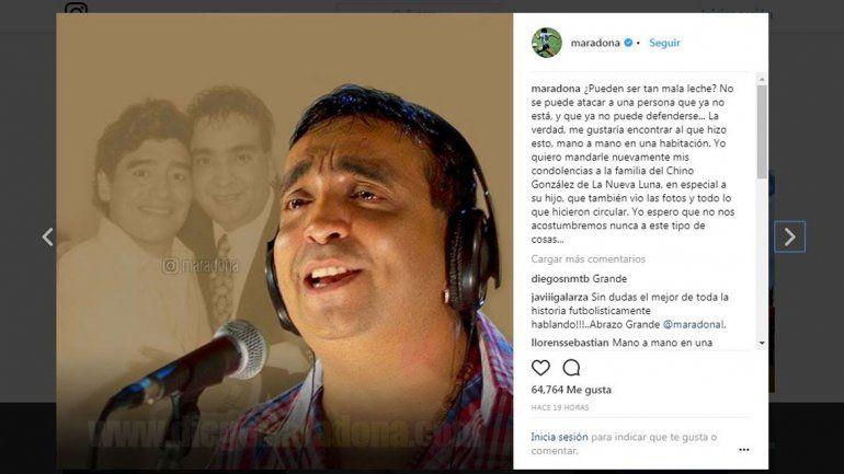 El duro mensaje de Maradona por las imágenes del Chino de la Nueva Luna