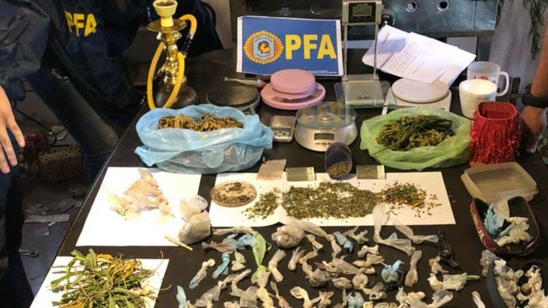 El material incautado en la caja de la mujer de 50 años y las plantas que fueron cortadas y retiradas del lugar.