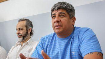 Pablo Moyano se mostró junto al titular de UTE-Ctera, Eduardo López.