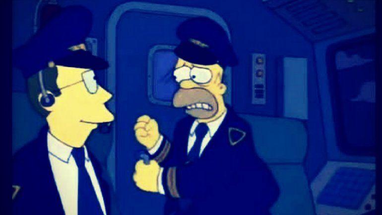 Homero Simpson el capitán de un vuelo de Aerolíneas