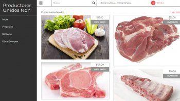 El sitio web con el catálogo de los productos porcinos.