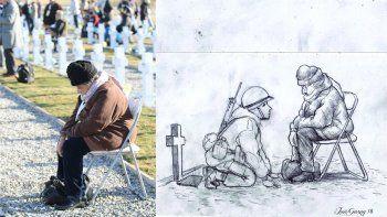 Emotivo dibujo de un soldado de Malvinas con su mamá