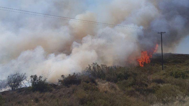 El fuego y el viento complicó la tarea de los bomberos para apagar incendios de pastizales