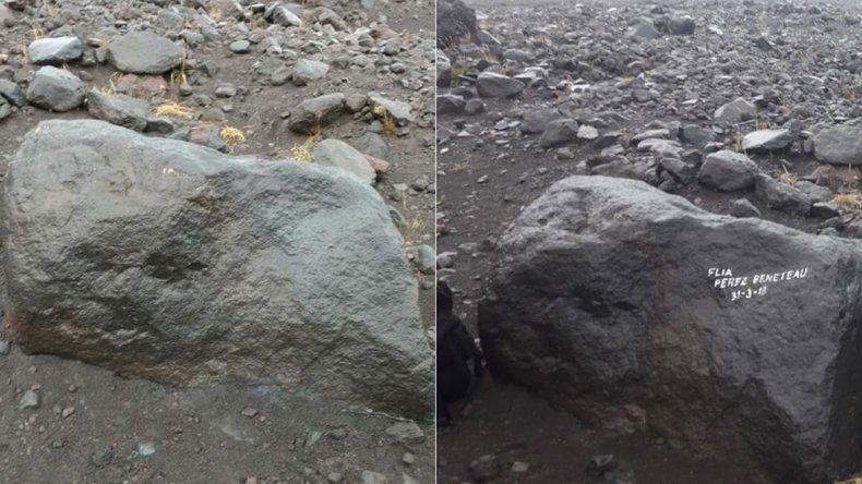 Los grafiteros del Lanín ya limpiaron su firma de la roca