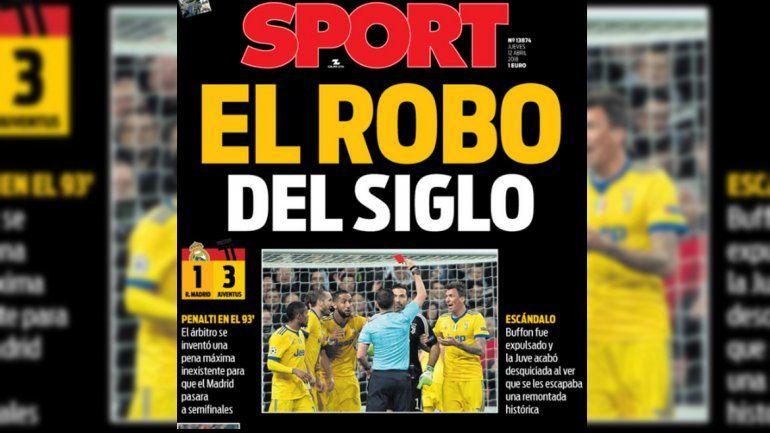 La tapa del diario Sport, simpatizante con el club Barcelona.