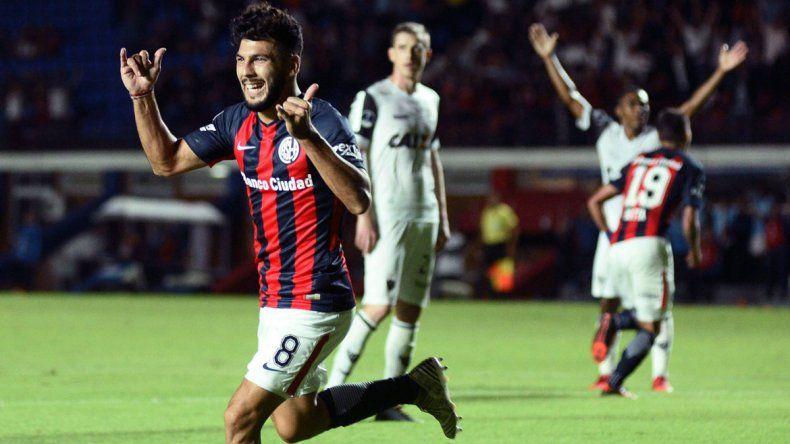 Gabriel Gudiño anotó el gol del triunfo de San Lorenzo.