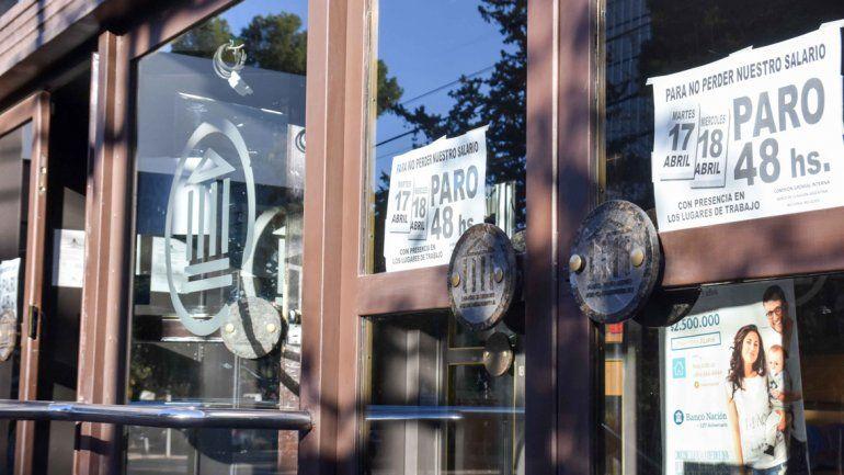Acatamiento total al paro bancario de 48 horas en Neuquén