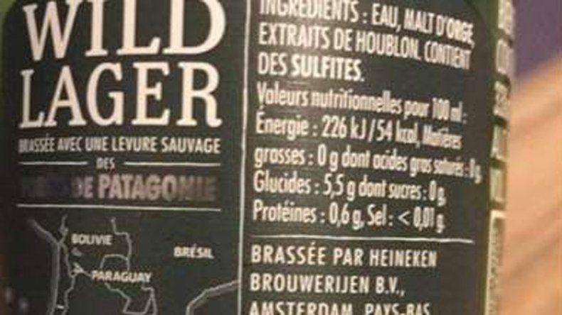 Heineken incluyó el mapa argentino en su etiqueta porque utiliza una levadura descubierta en la Patagonia.