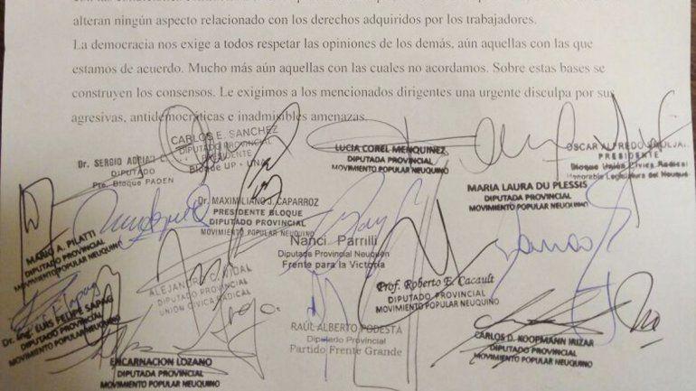 Diputados repudiaron las amenazas de la dirigencia de ATE